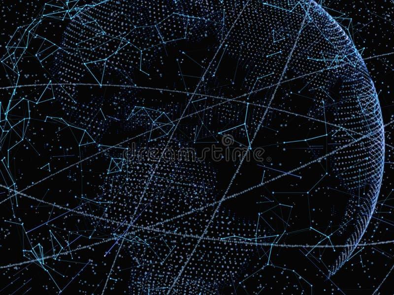Abstract technology concept. Digital world. Link network on hi-tech background. 3d illustration stock image