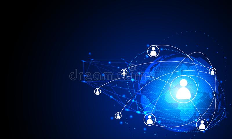 Abstract technology concept Internet futuristic network connection human communication with world map circle future technology di vector illustration