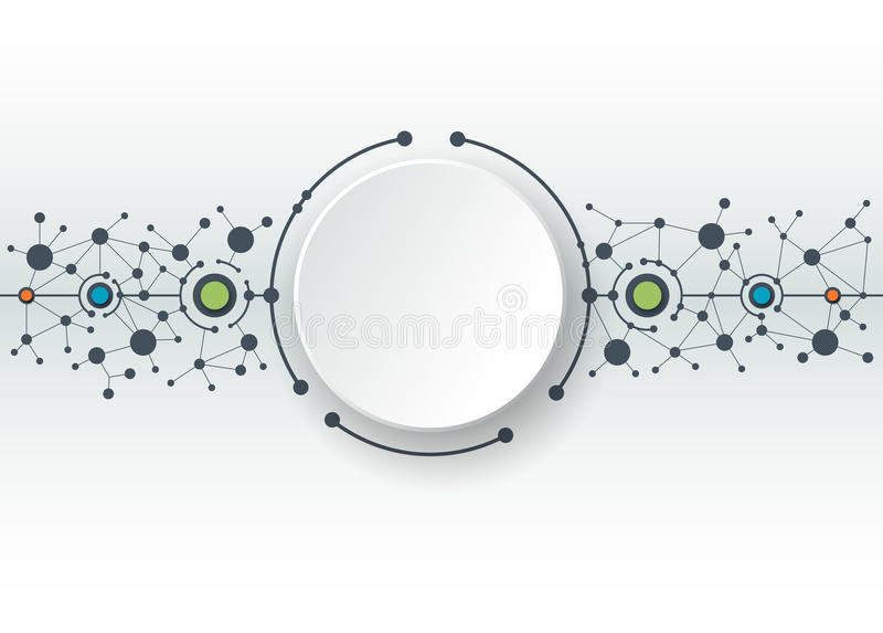 Abstract Technology connection background. Vector illustration of abstract molecules and communication - social media technology concept with 3D paper label stock illustration
