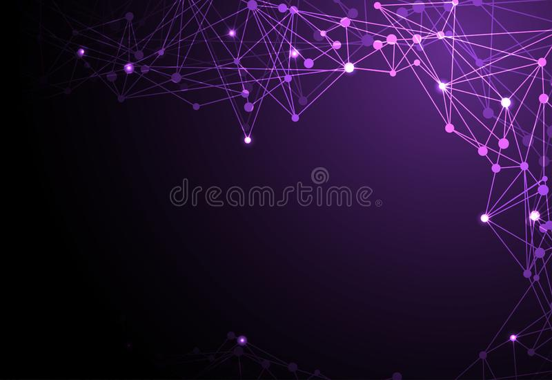 Abstract technology futuristic concept linear,polygonal dark violet color Hi-tech digital technology Vector design on background. royalty free illustration