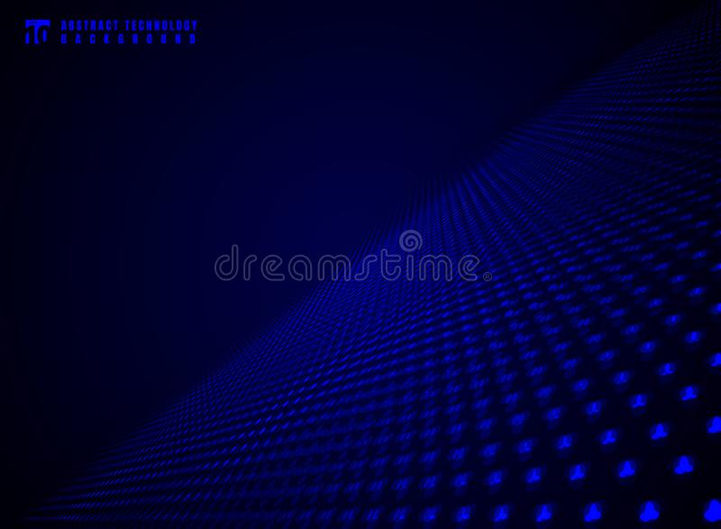 Abstract technology futuristic data visualization particle dynamic blue dots pattern on darkness background and texture with copy stock illustration
