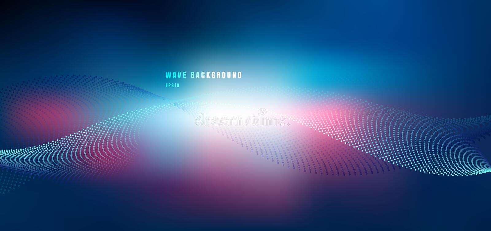 Abstract technology futuristic network design with particle blue and pink wave. Dynamic particles sound wave flowing on glowing stock illustration