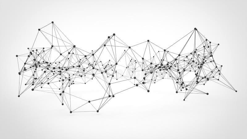 Abstract technology futuristic network - plexus background. 3d illustrated stock illustration