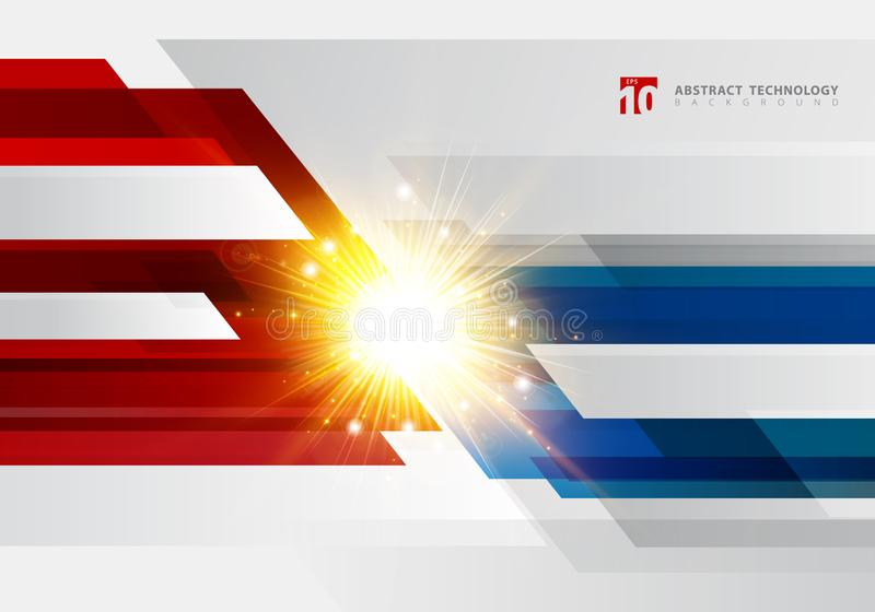 Abstract technology geometric red and blue color shiny motion background with light explosion. Template with header and footer for. Brochure, print, ad stock illustration