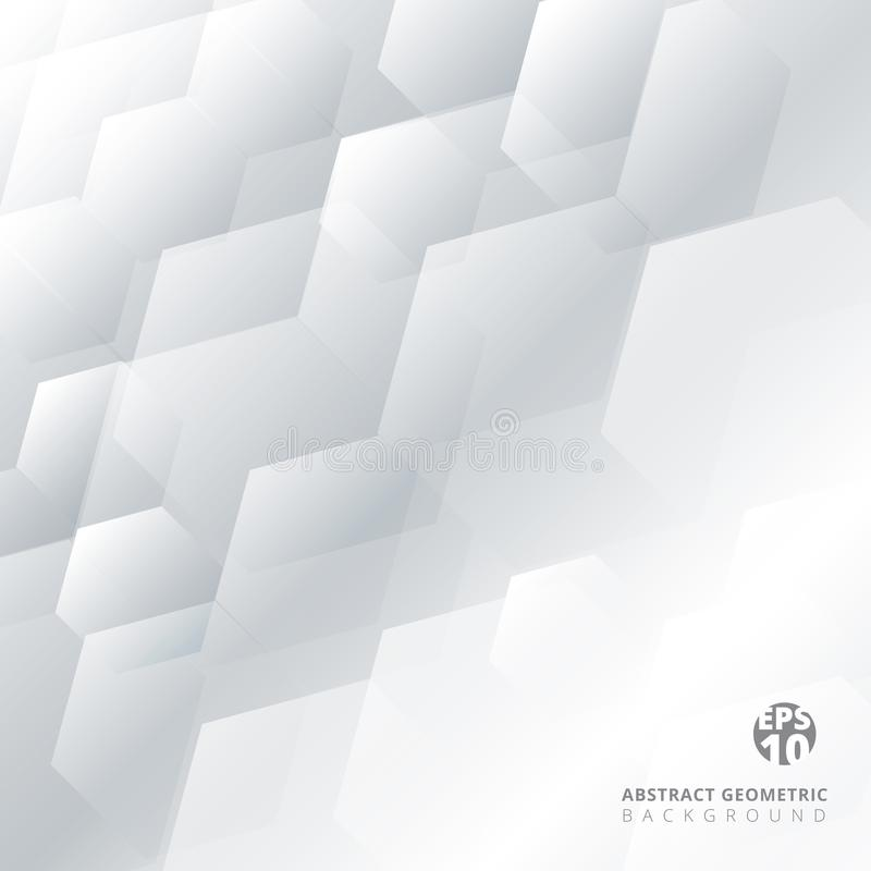 Abstract technology gray and white geometric hexagon overlay background with copy space. Template brochure design. Vector illustration stock illustration