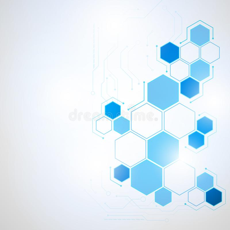 Abstract Technology hexagon background royalty free illustration