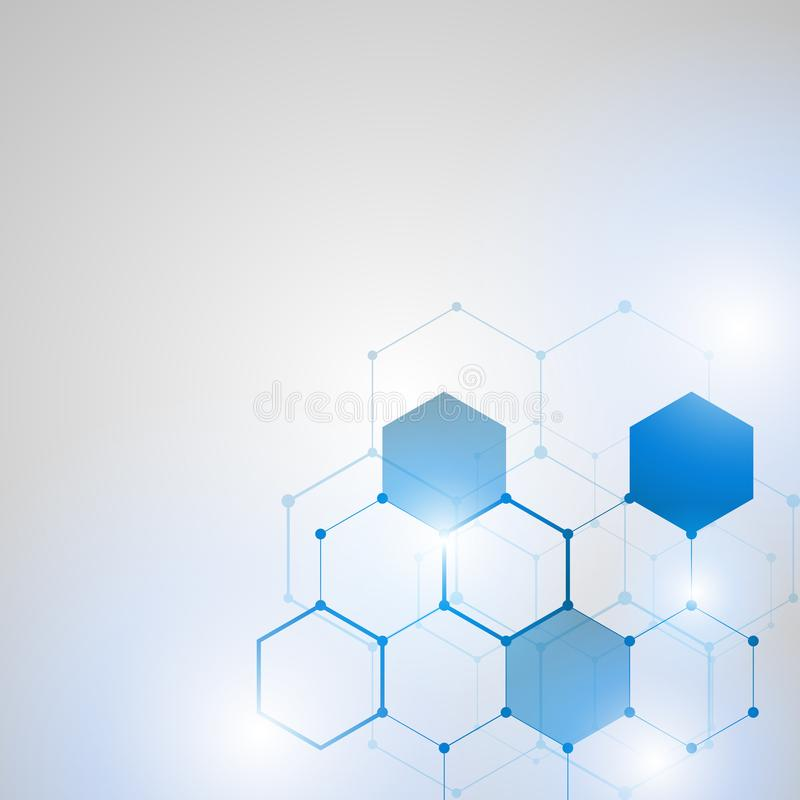 Abstract Technology hexagon background stock illustration