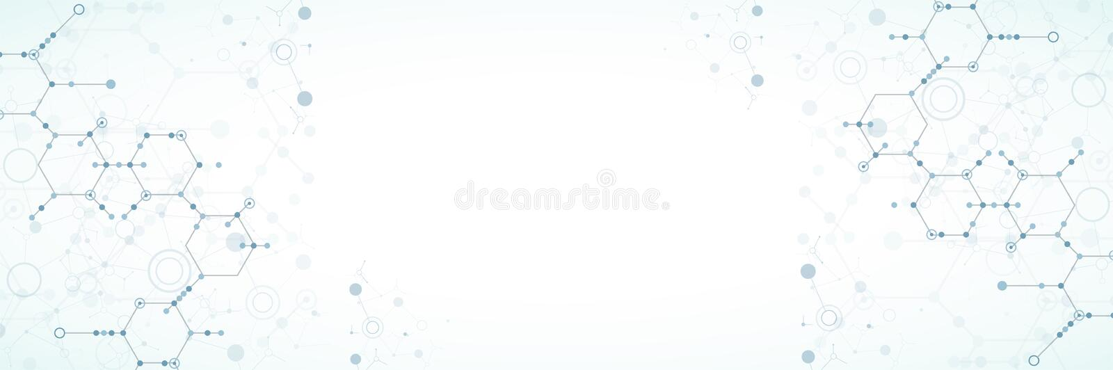 Abstract technology hexagonal background. Connection structure. royalty free illustration