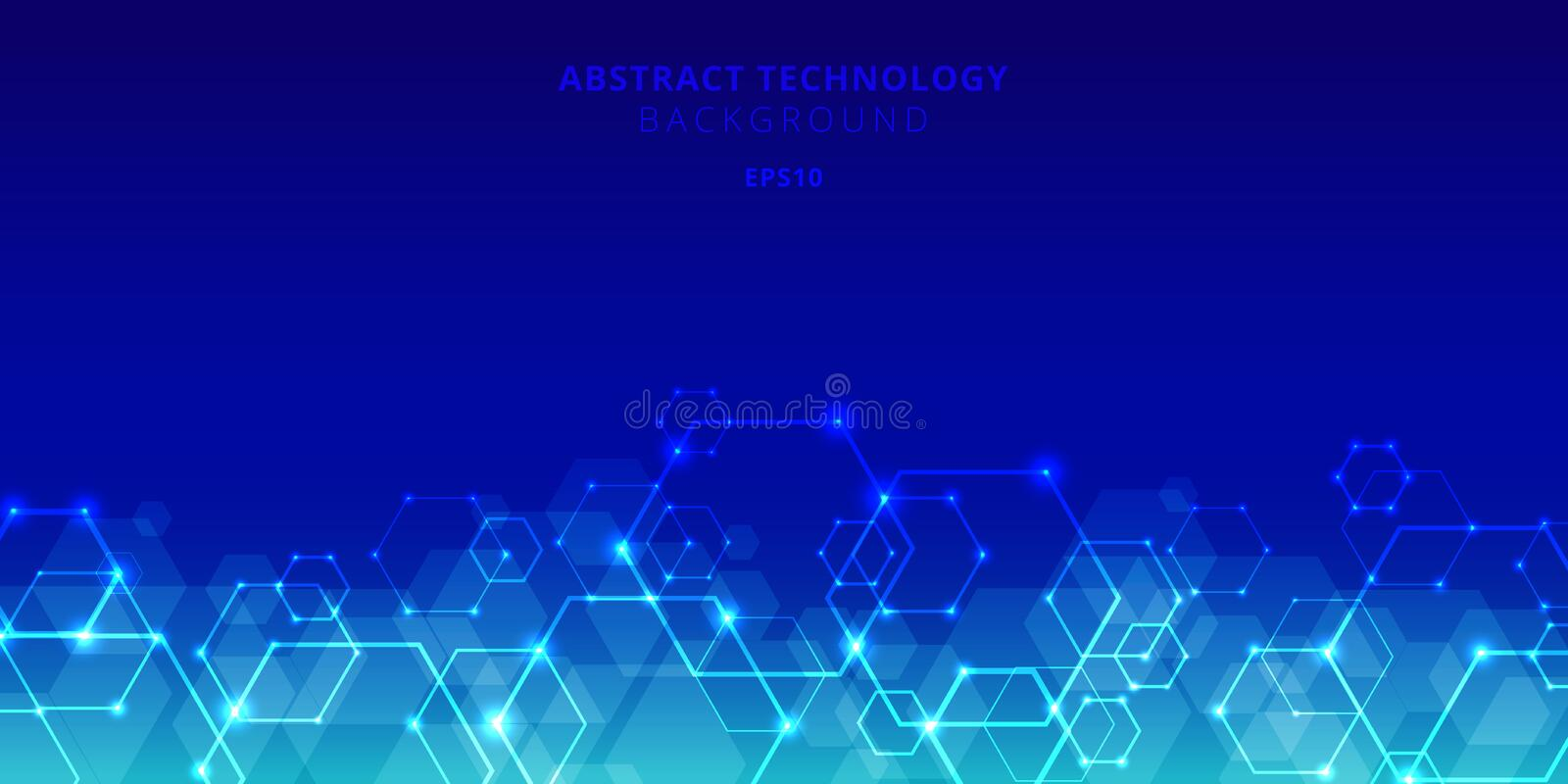 Abstract technology hexagons genetic and social network pattern on blue background. Future geometric template elements hexagon vector illustration