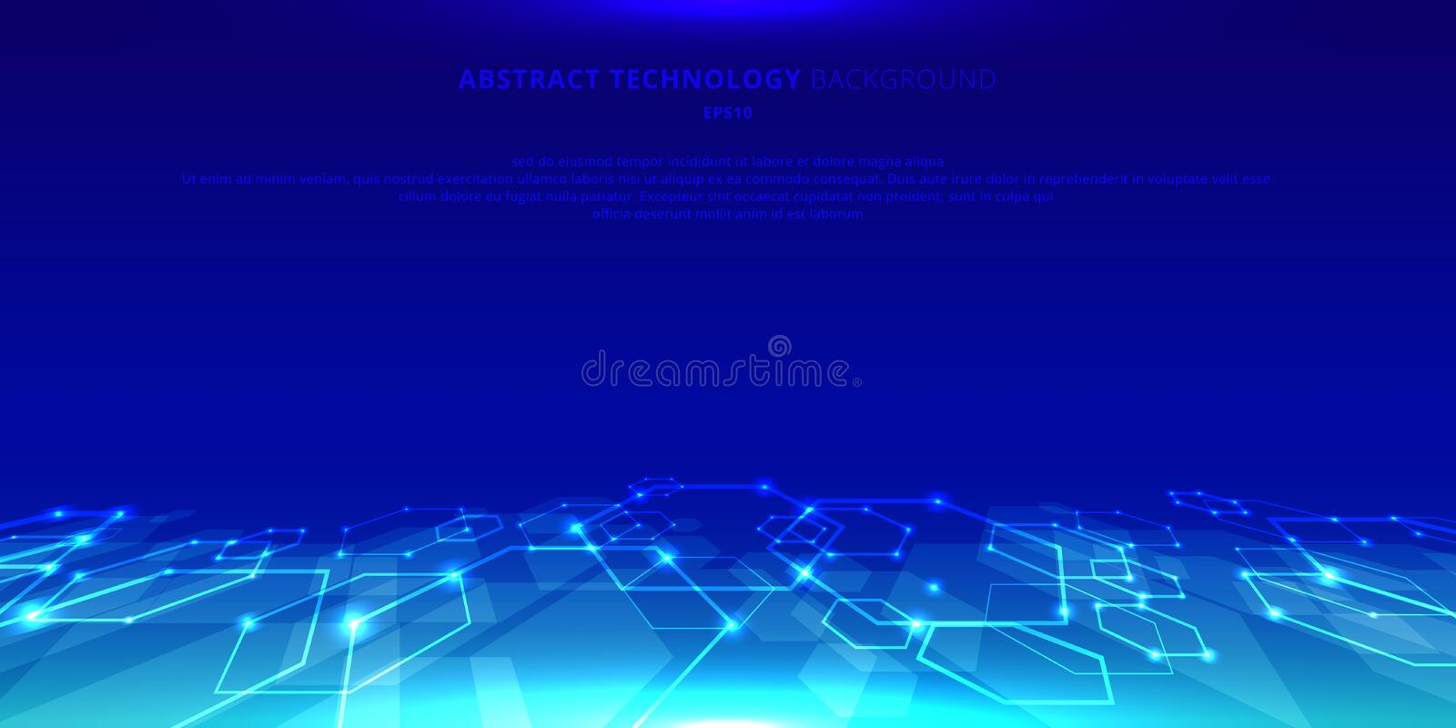 Abstract technology hexagons genetic and social network pattern perspective on blue background. Future geometric template elements royalty free illustration