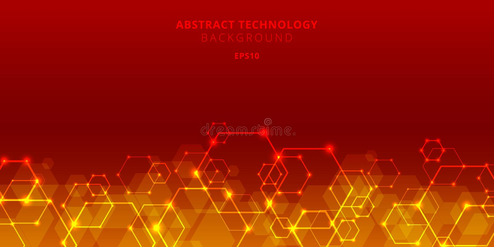 Abstract technology hexagons genetic and social network pattern on red background. Future geometric template elements hexagon with vector illustration
