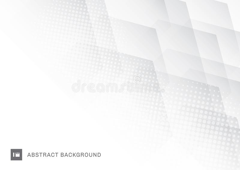 Abstract technology hexagons overlapping with halftone effect on white background stock illustration