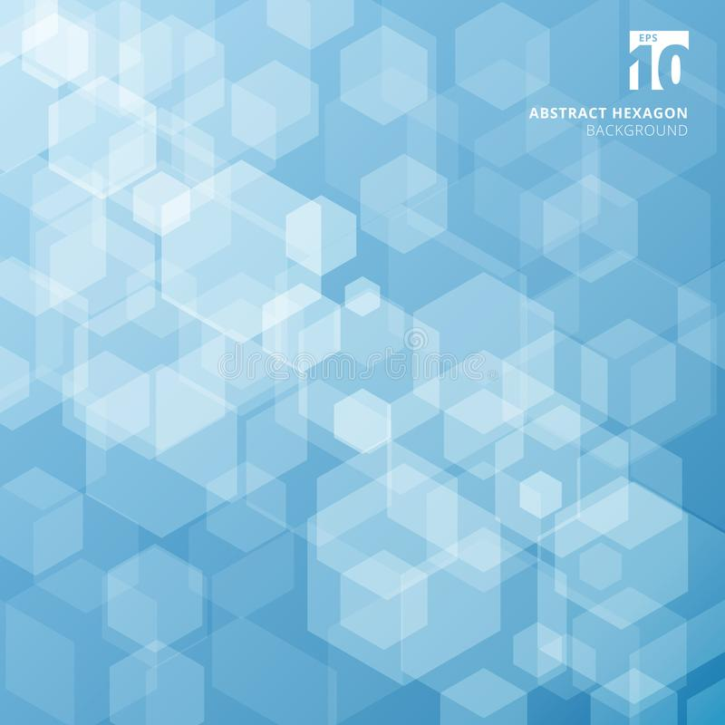 Abstract technology with hexagons overlay on blue background. Vector illustration stock illustration