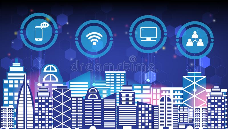 Abstract technology innovation smart city and wireless communication network night city social digital life, internet of things. Services and icons flat design stock illustration