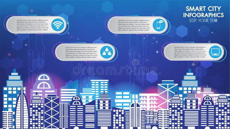 Abstract technology innovation smart city and wireless communication network night city social digital life, internet of things stock illustration