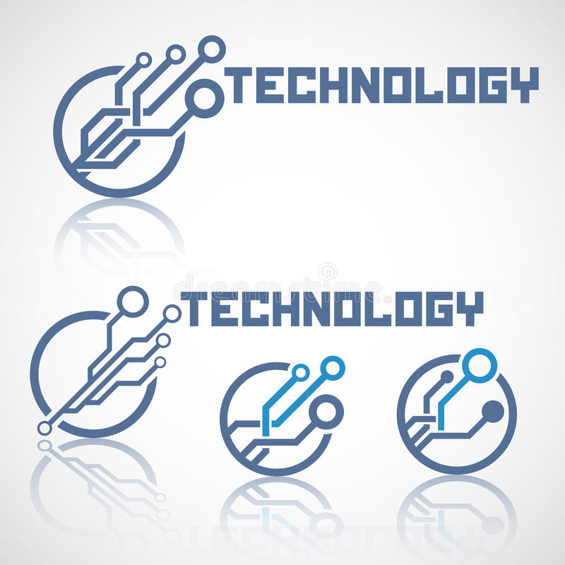 Abstract technology logo with reflect. Electronics icon stock illustration