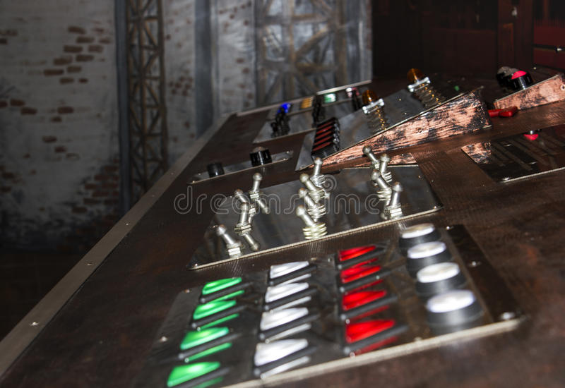 Abstract technology on long exposure. Technological production at the factory, Control panel during operation, Modern technological process, The right royalty free stock photography