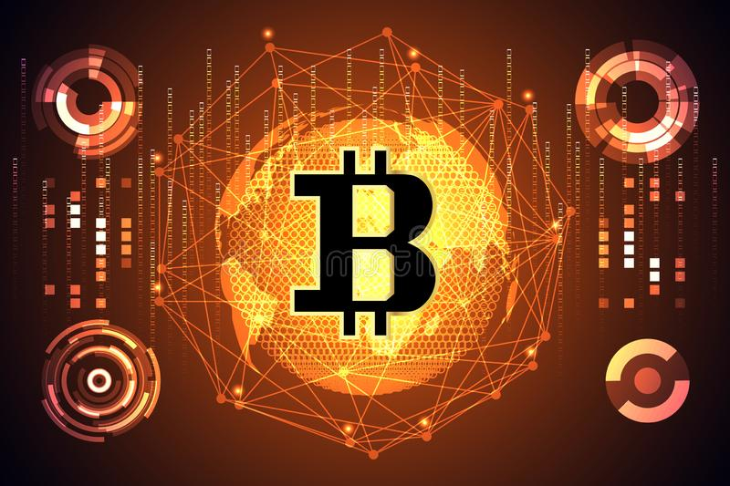 Abstract technology map world digital money ui futuristic Concept future Golden bitcoin digital currency interface hologram stock illustration