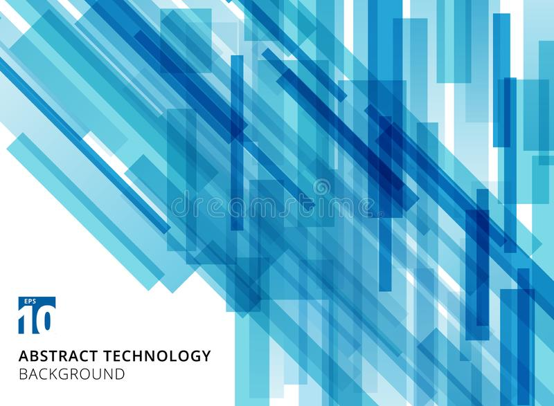 Abstract technology overlapped geometric squares shape blue colo. Ur on white background with copy space. Vector graphic illustration royalty free illustration