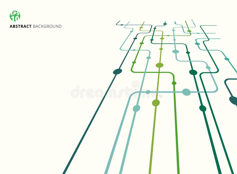 Abstract technology perspective background green color curved lines, dots with copy space. flat design stock illustration