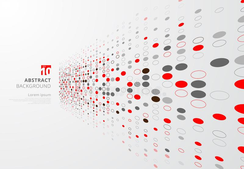 Abstract technology perspective background with red and gray cir. Cles border dots pattern. Big data complex. Vector illustration stock illustration