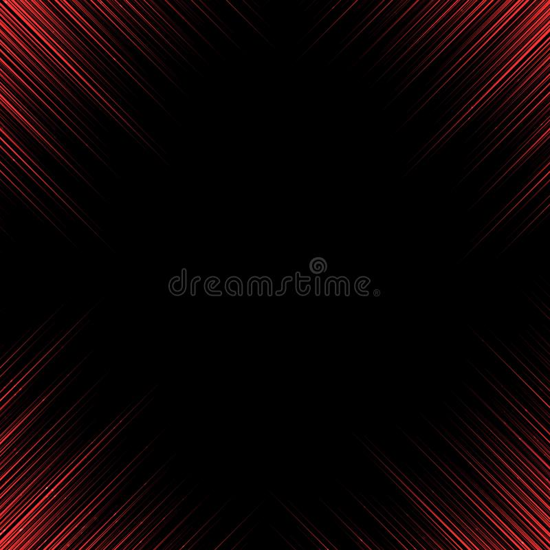 Abstract technology red lines corner oblique motion on black background with copy space. vector illustration