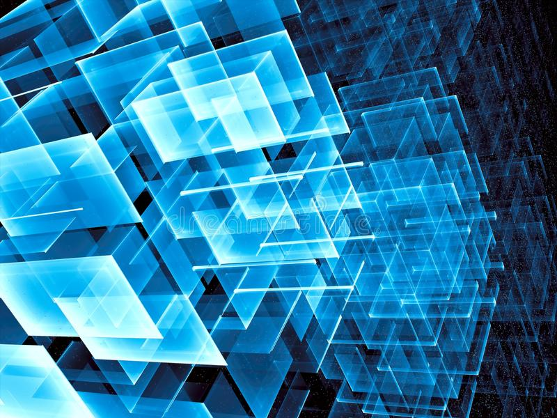 Abstract design with grid - digitally generated image. Abstract technology or sci-fi background - computer-generated 3d illustration. Fractal art: structure with stock photo