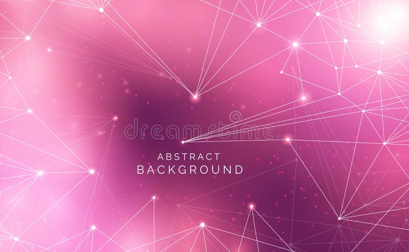 Abstract technology science background concept beautiful colorful connection digital geometric lines and dot communication stock illustration