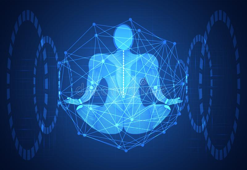 Abstract technology science concept human body line blue health. Digital : medicine,meditation,Healing,Chakra,Zen vitality innovation energy circulates in the stock illustration