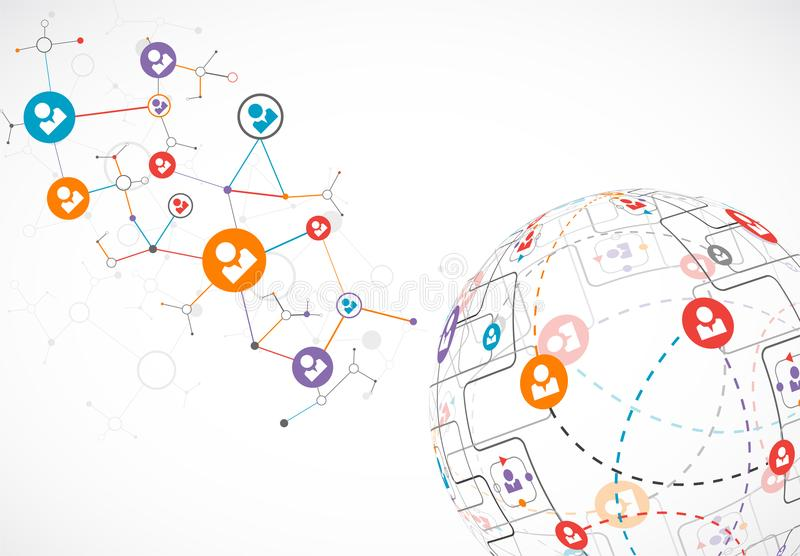 Abstract technology sphere background. Global network concept. royalty free illustration
