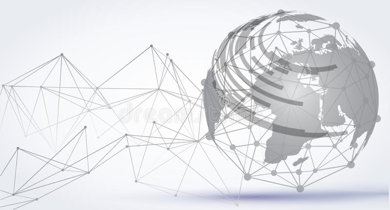 Abstract technology sphere background. Global network connection, international meaning consept – vector royalty free illustration