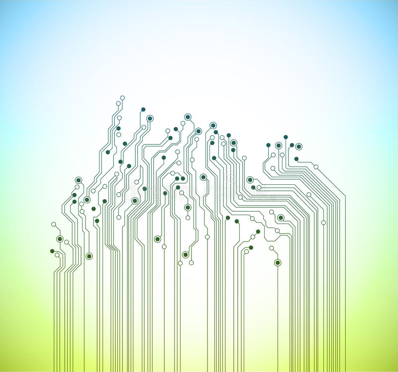 Abstract technology spring vector background. Blue and green colors stock illustration