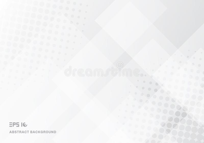 Abstract technology squares overlapping with halftone white background. Vector illustration royalty free illustration