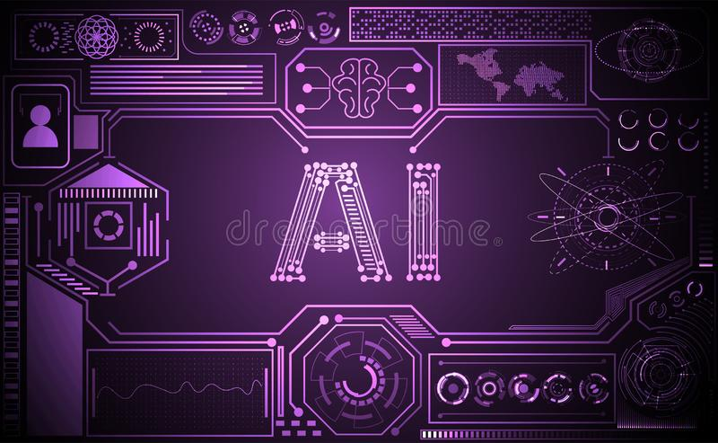 Abstract technology ui futuristic concept Ai hud interface hologram elements of digital data chart, communication, computing and. Circle percent vitality vector illustration