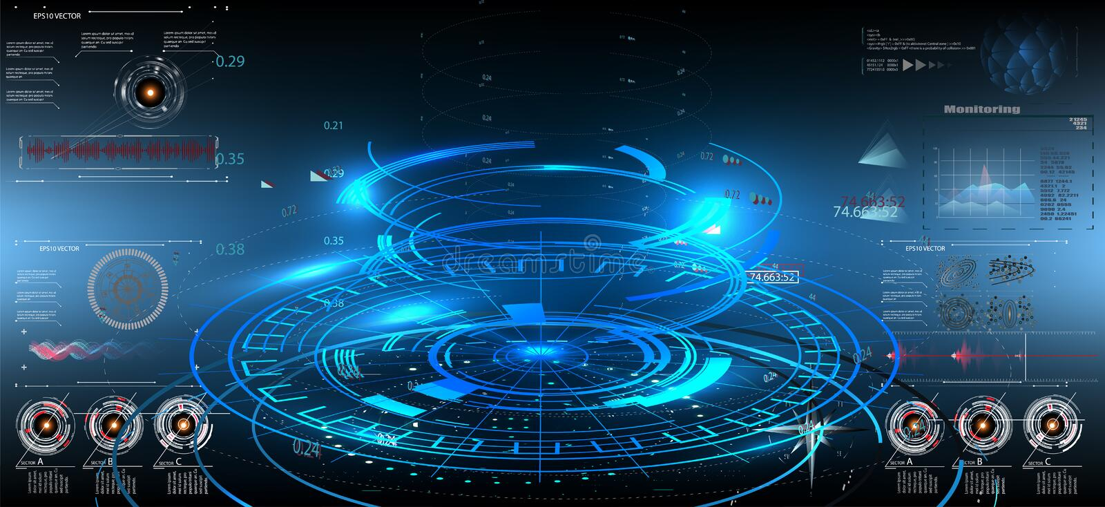 Abstract technology ui futuristic concept hud interface. Hologram elements of digital data chart, communication, computing and circle percent vitality stock illustration
