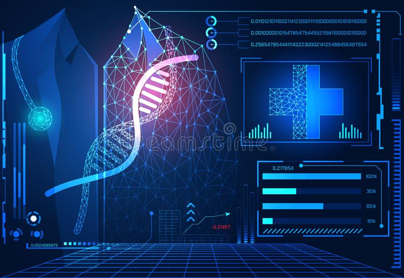 Abstract technology ui futuristic concept hud interface hologram. Elements of digital data chart, communication, computing, DNA, Doctor and medical innovation stock illustration
