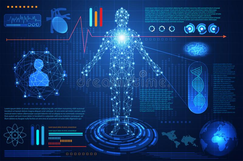 Abstract technology ui futuristic concept hud interface hologram. Elements of digital data chart, communication, computing,human body digital health care vector illustration