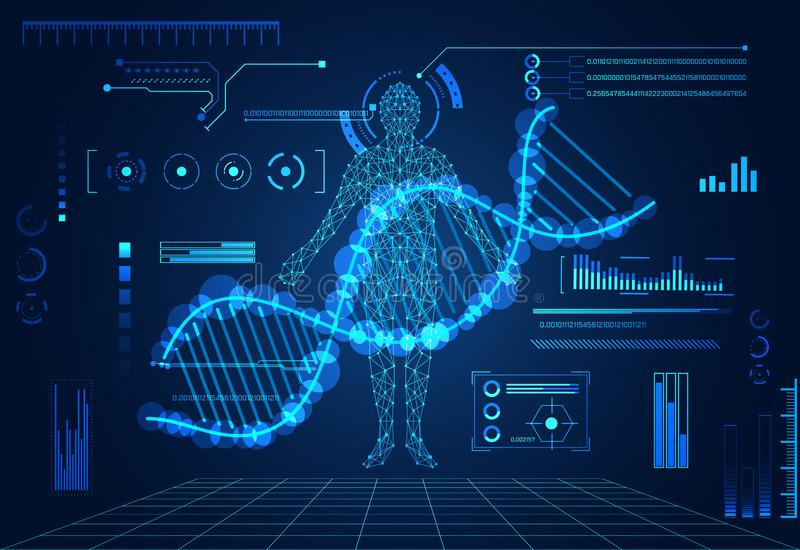 Abstract technology ui futuristic concept human digital DNA heal vector illustration
