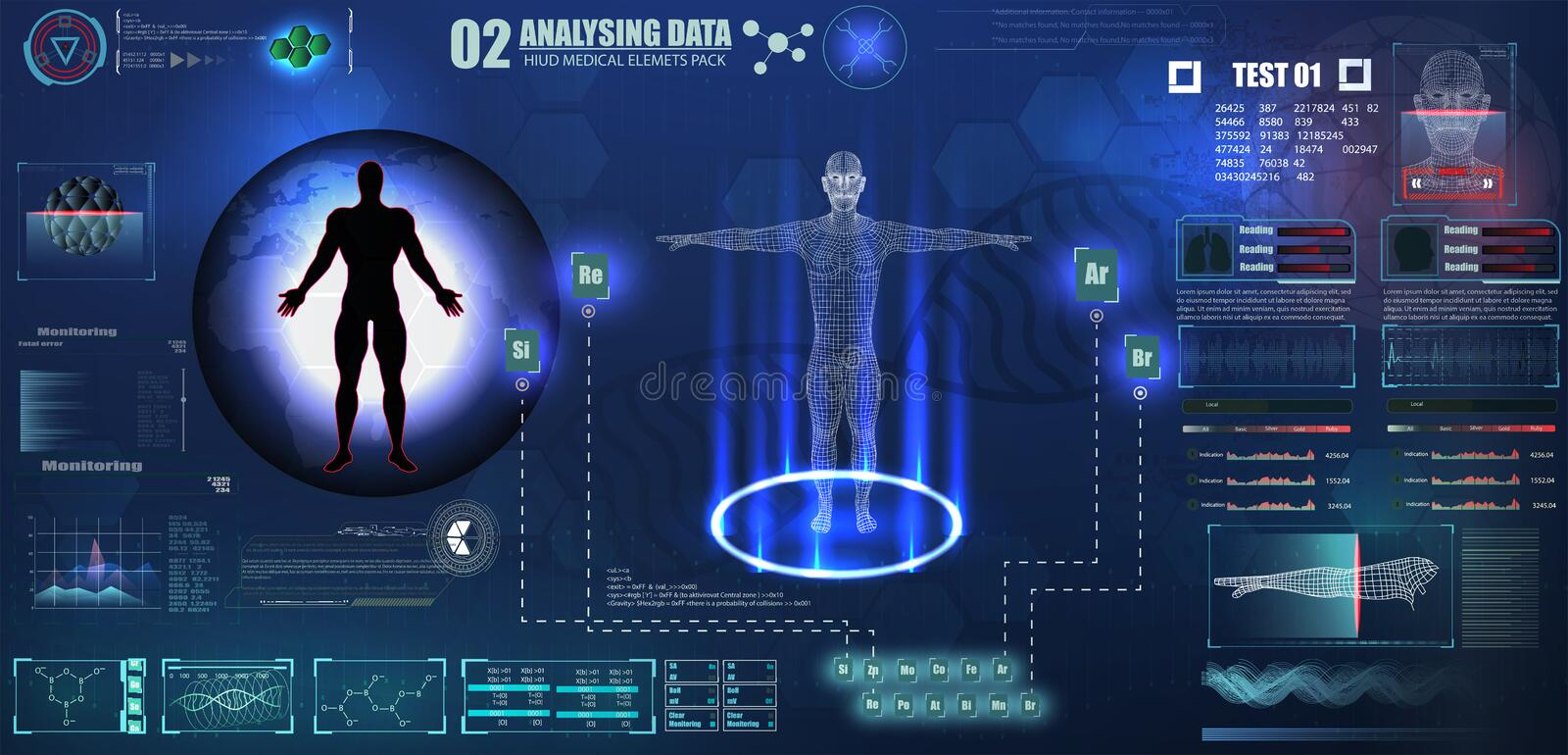 Abstract technology ui futuristic concept human digital DNA health care of hud interface hologram elements of digital data chart,. Eps10 royalty free illustration
