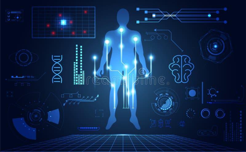 Abstract technology ui futuristic human medical hud interface ho. Logram elements of digital data chart, DNA,Fingerprint,Brain computing circle vitality royalty free illustration