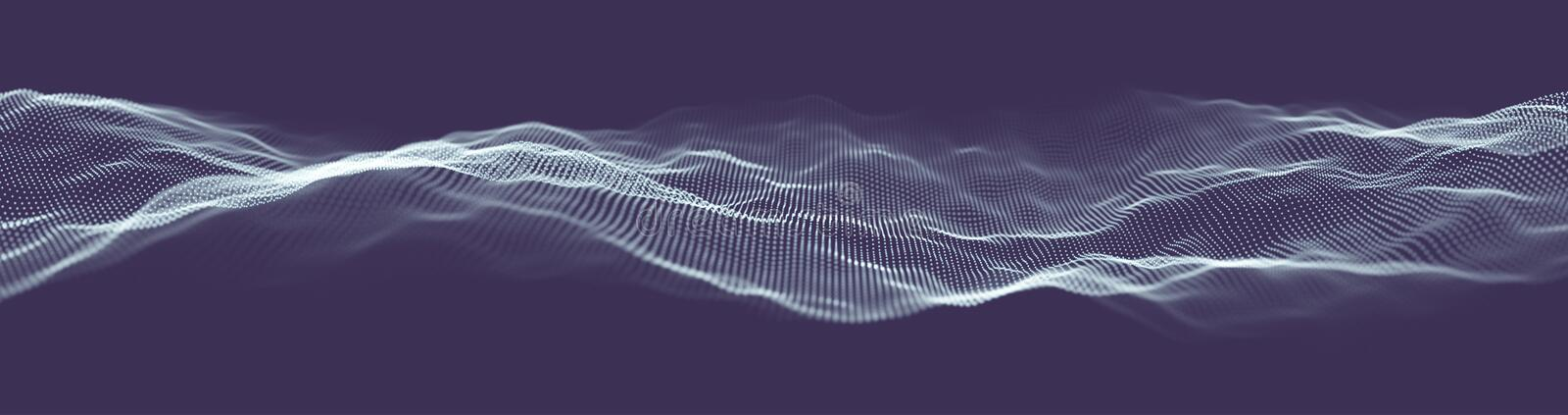 Abstract technology web banner. Background 3d grid. Ai tech wire network futuristic wireframe. Artificial intelligence royalty free illustration