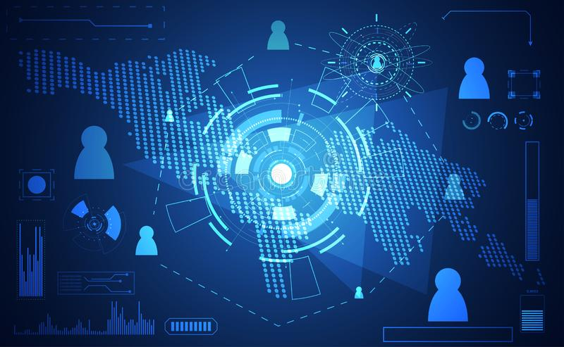 Abstract technology world digital link network connection, business man and map dot link ui futuristic concept hud interface. Hologram elements of digital stock illustration