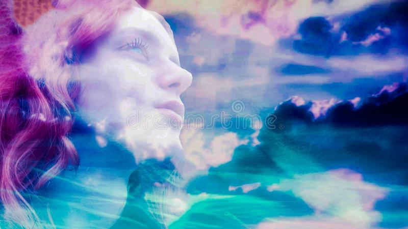 Abstract Teen Girl Colorful Clouds royalty free stock photo
