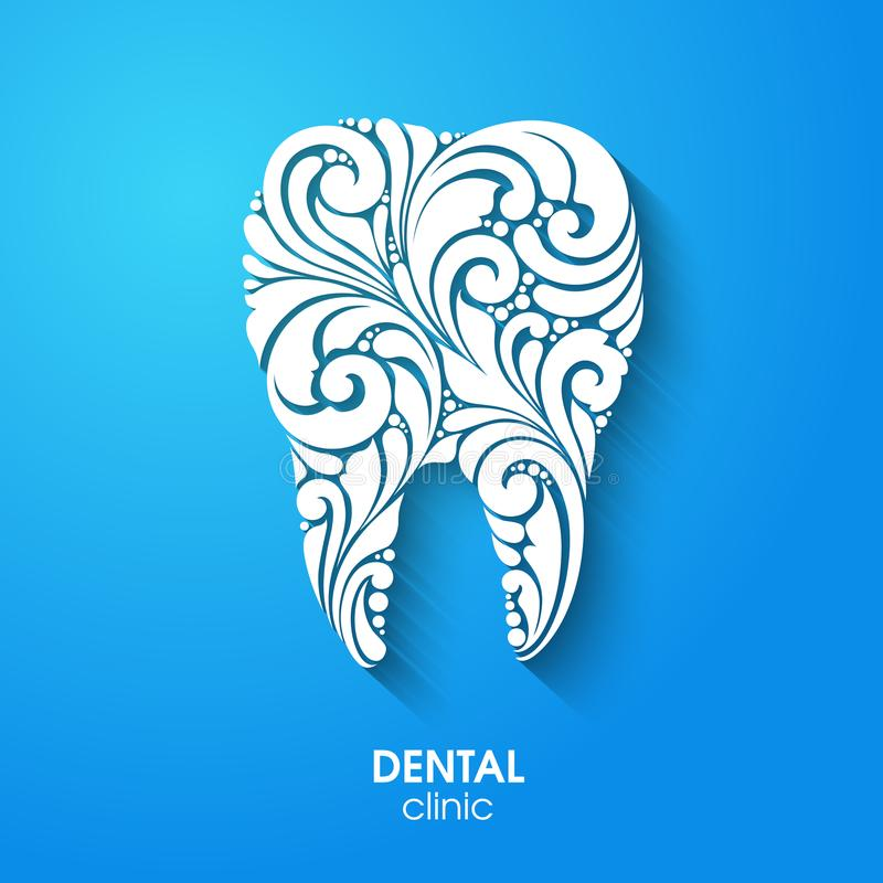 Abstract teeth silhouette. Ornate floral white tooth symbol on blue background. Medical dentist dental clinic sign icon logo. stock illustration