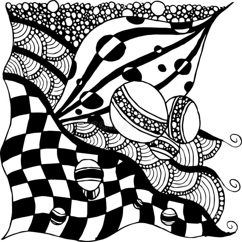 Abstract tekeningspatroon, willekeurige reeks gevoerde elementen, zwart-witte abstractie van verticaal schema, schaakpatroon vector illustratie
