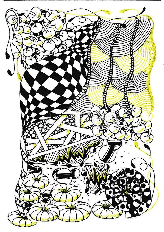 Abstract tekeningspatroon, willekeurige reeks gevoerde elementen, zwart-witte abstractie van verticaal schema, schaakpatroon binn stock illustratie