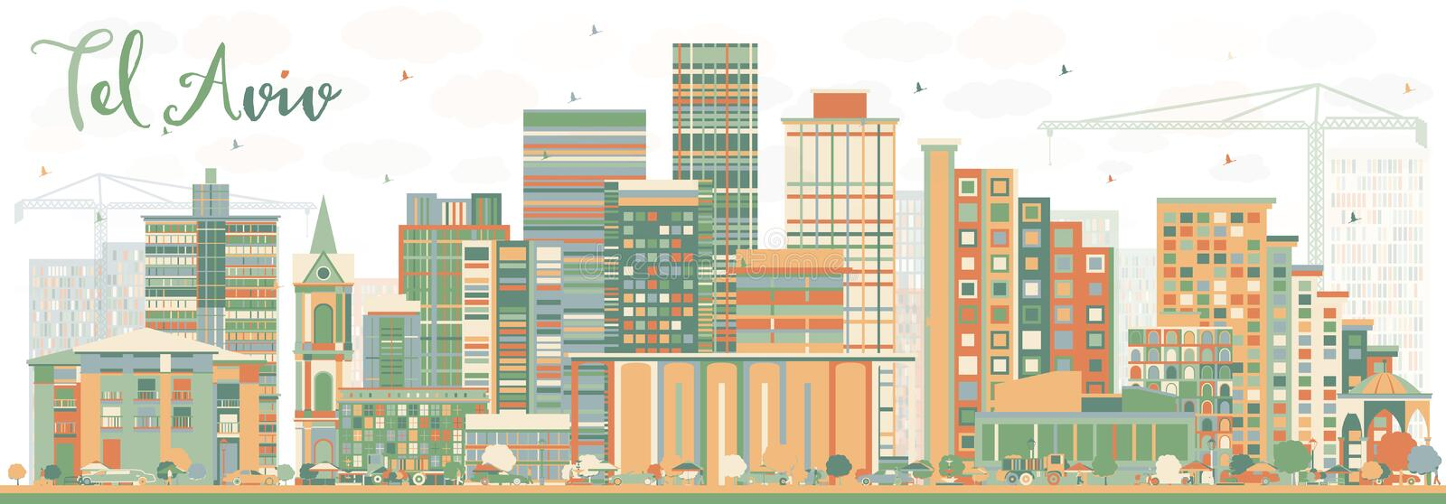 Abstract Tel Aviv Skyline with Color Buildings. Vector Illustration. Business Travel and Tourism Concept with Modern Architecture. Image for Presentation royalty free illustration