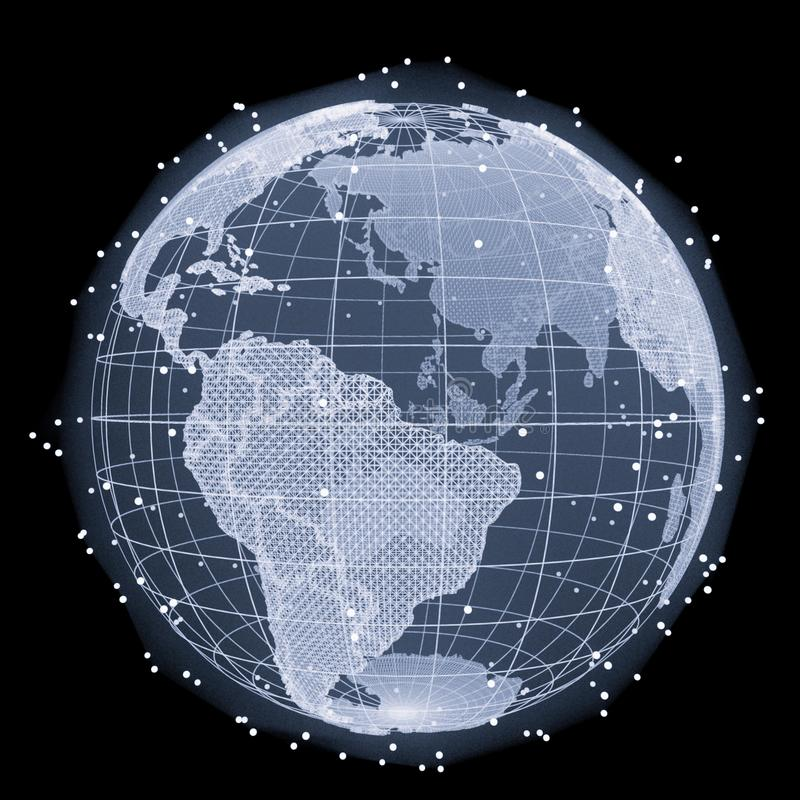 Abstract Telecommunication Earth Map stock photography