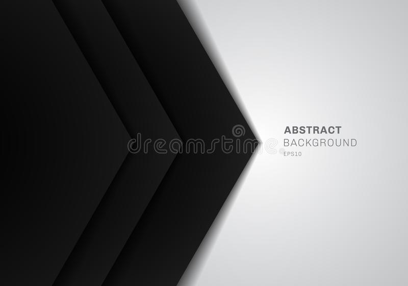 Abstract template 3D black triangle with overlap paper layer gradient color on white background with copy space stock illustration