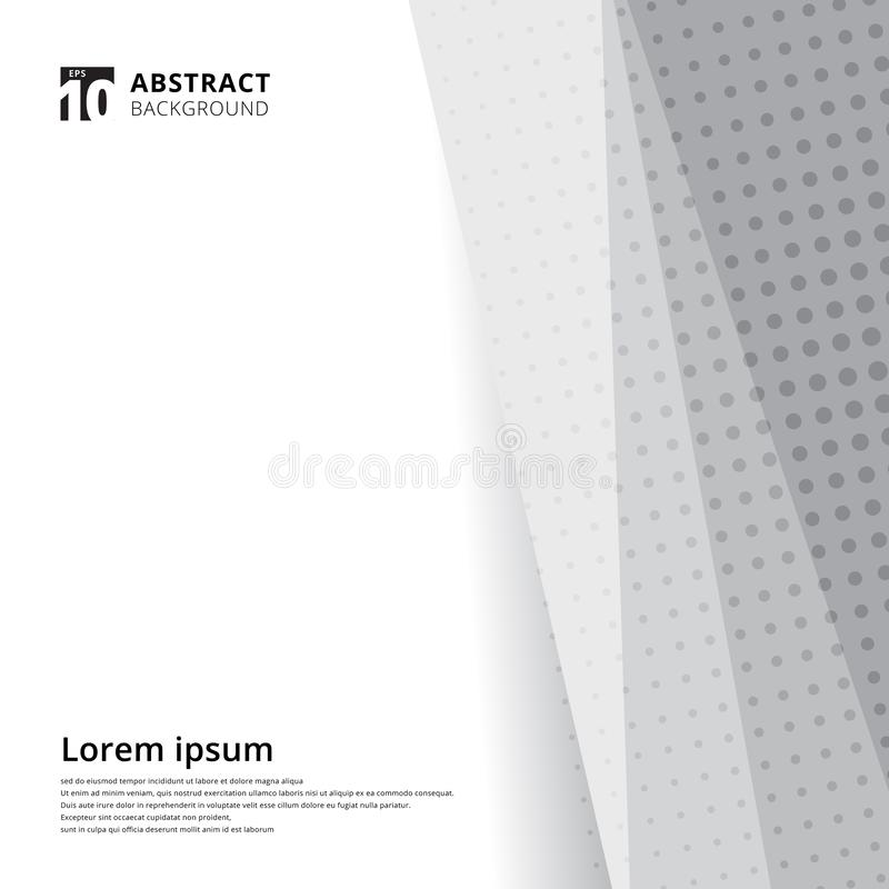Abstract template design halftone white and grey background. Decorative website layout or poster, banner, brochure, print, ad. Vector illustration vector illustration